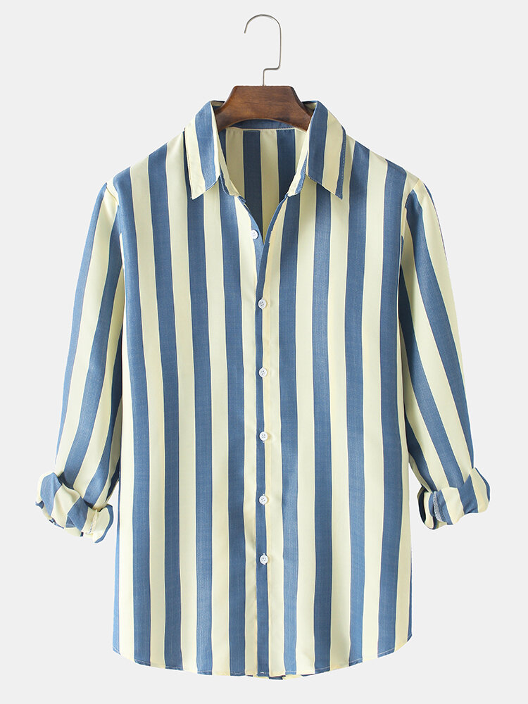 Mens Simple Vertical Stripes Print Lapel Casual Fit Long Sleeve Shirts