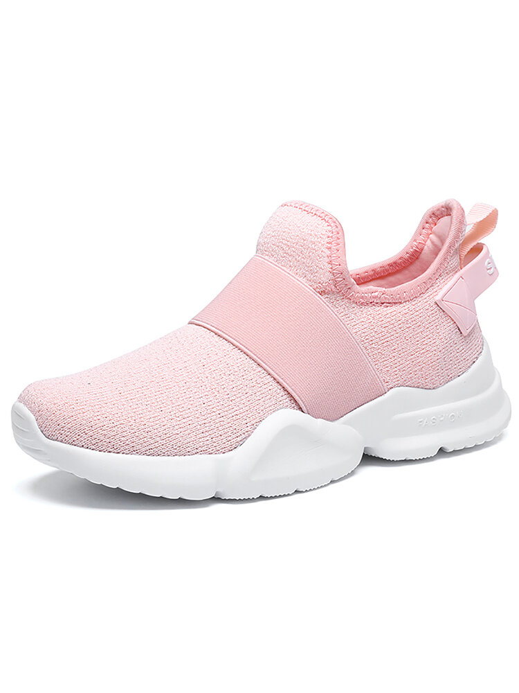 Women Comfy Breathable Knitted Fabric Slip On Flat Sneakers
