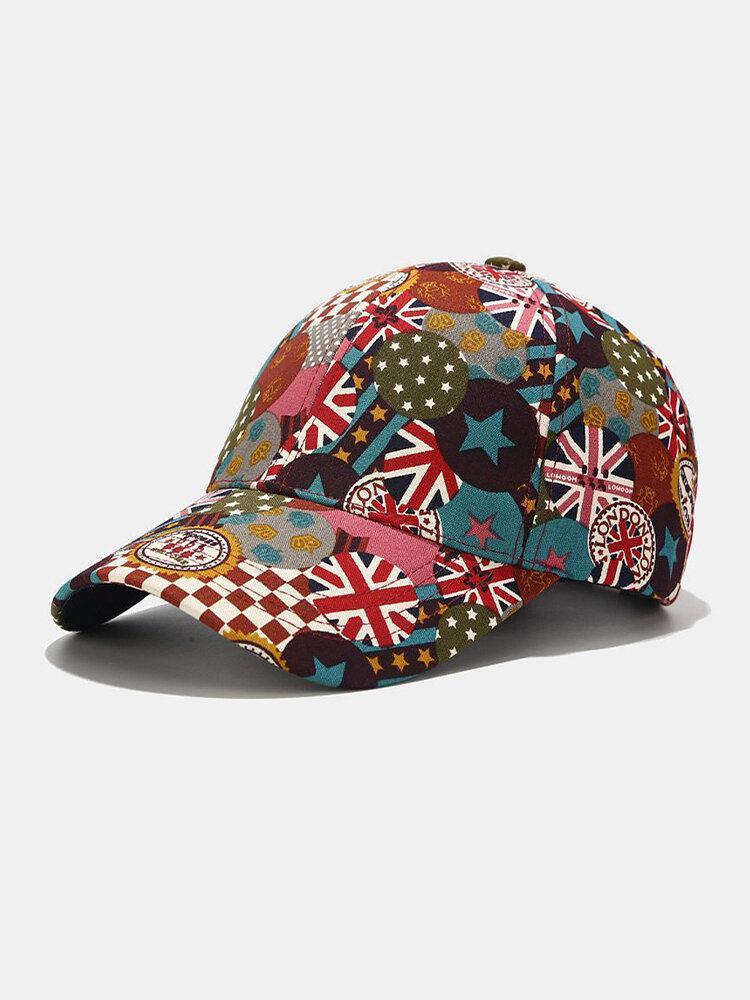 यूनिसेक्स कॉटन ब्रिटिश फ्लैग पैटर्न कैजुअल फैशन सनवीसर पीक कैप बेसबॉल टोपी