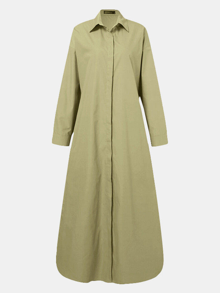 Solid Color Button Long Sleeve Casual Dress for Women