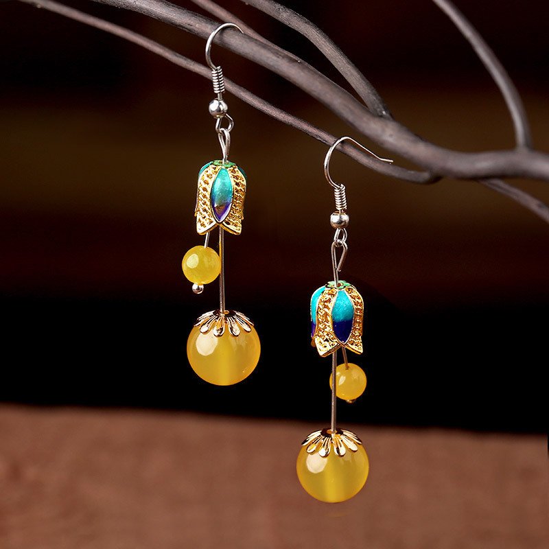 Vintage Ear Drop Earrings Agate chalcedony Double Ball Pendants Earrings Jewelry for Women