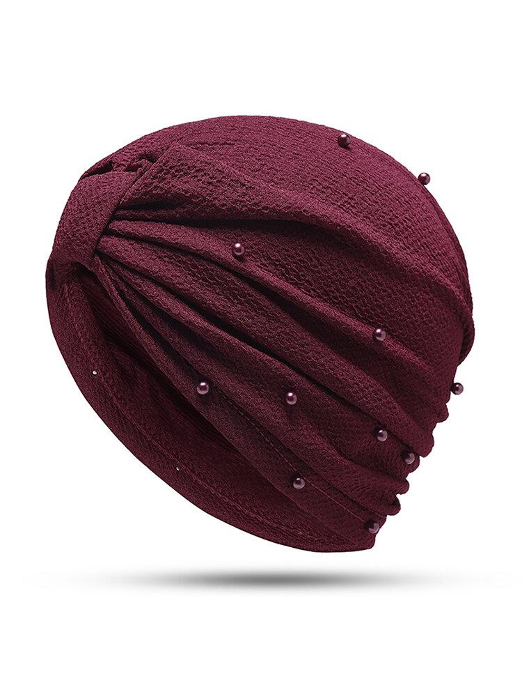 Womens Breathable Comfortable Pearl Headpiece Casual Elastic Beanie Hats Muslim Pile Heap Cap