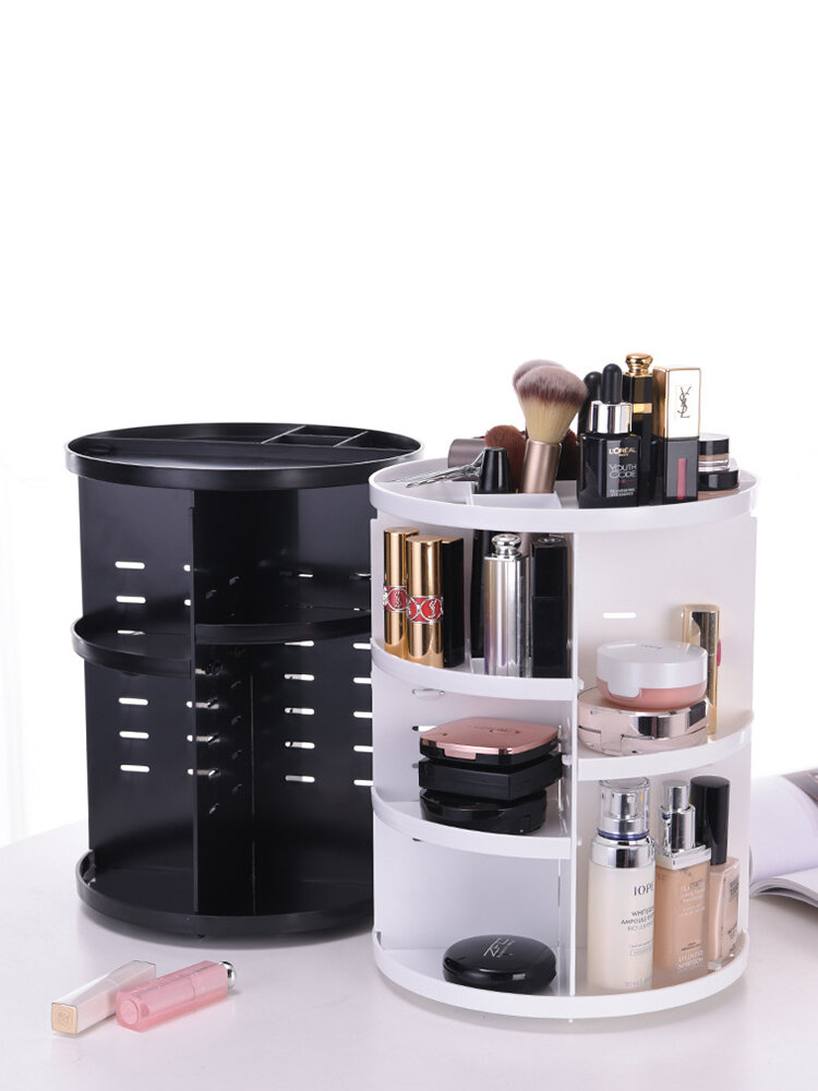 360-Degree Rotating Makeup Organizer Adjustable Multi-Function Cosmetic Storage Box