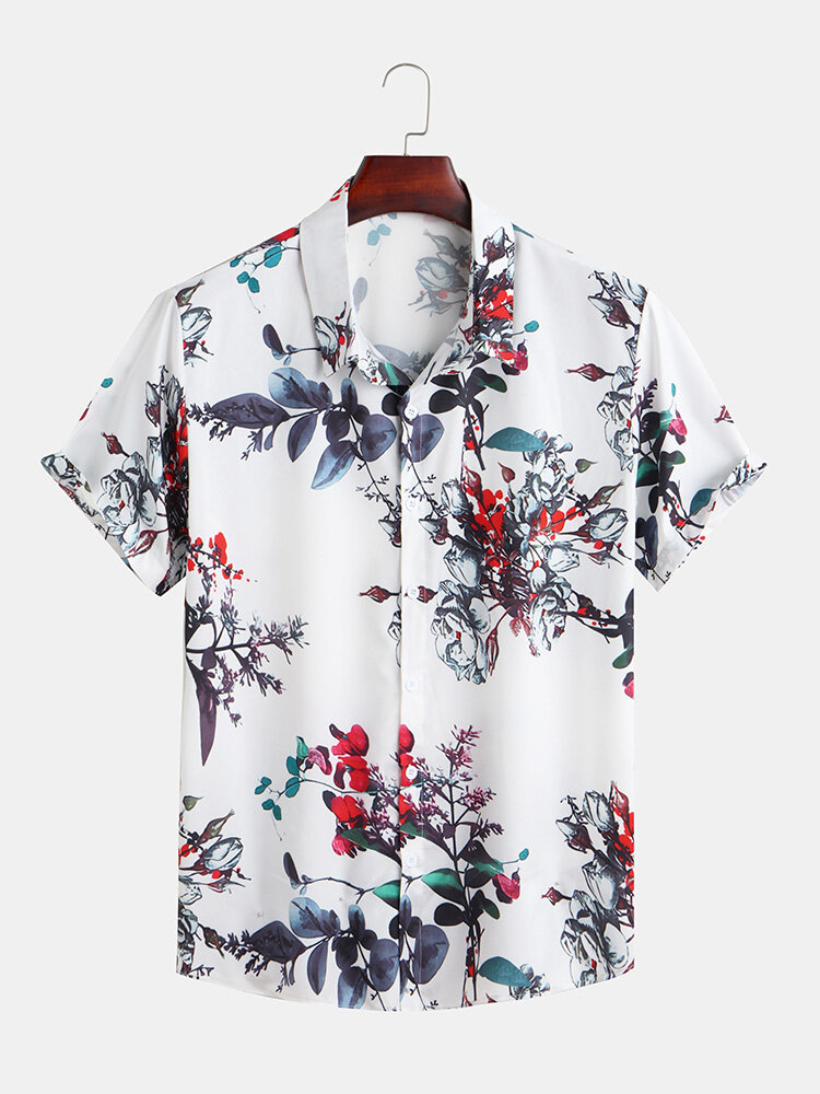Mens Graceful Flowers Printing Breathable Casual Short Sleeve Lapel Shirt
