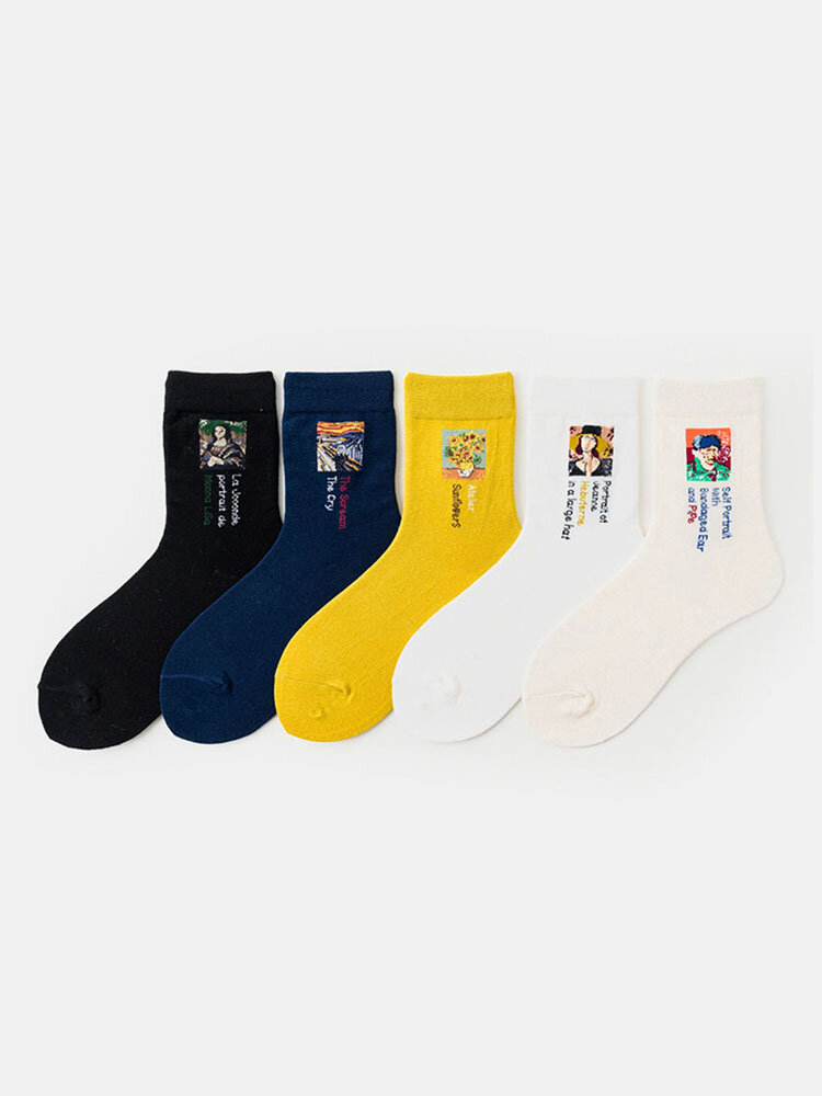 Women World Famous Painting Series In Tube Cotton Socks Creative Retro Oil Painting European Style