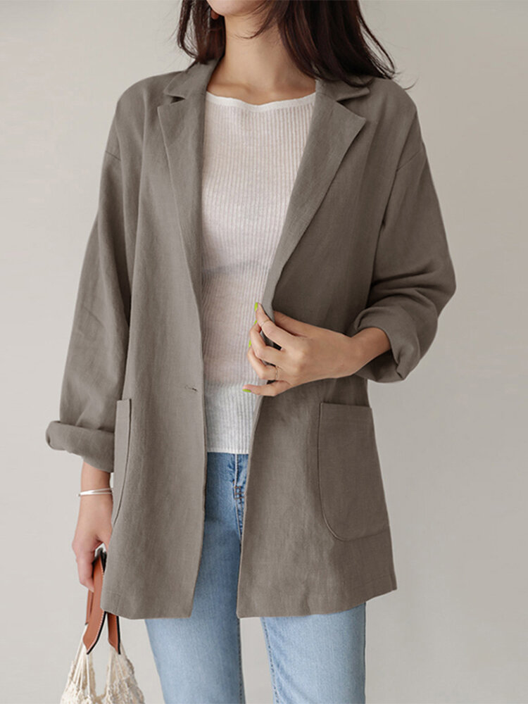 Casual Solid Color Lapel Long Sleeve Plus Size Jackets with Button