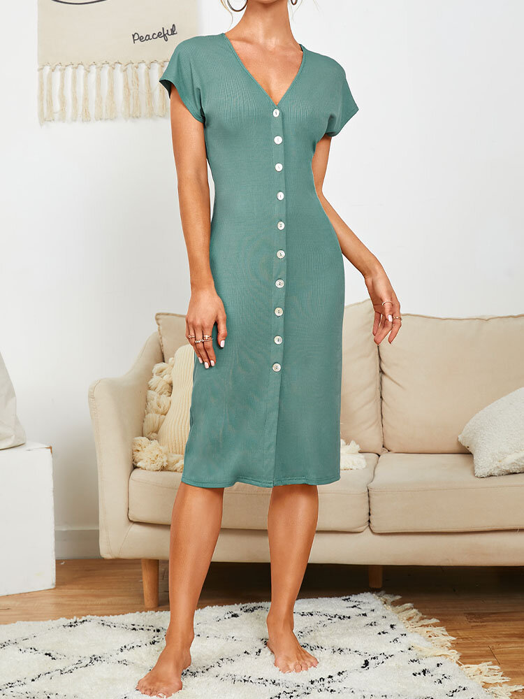 Solid Color V-neck Button Short Sleeve Casual Dress For Women