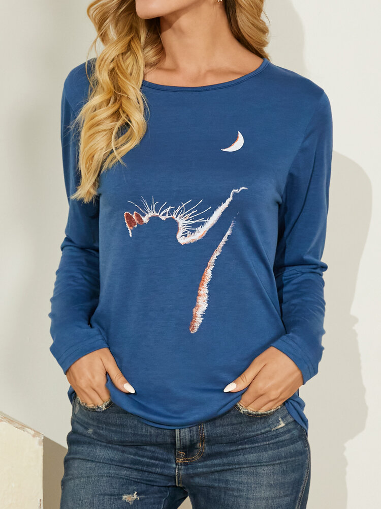 Cat Print Long Sleeves O-neck Casual T-shirt For Women