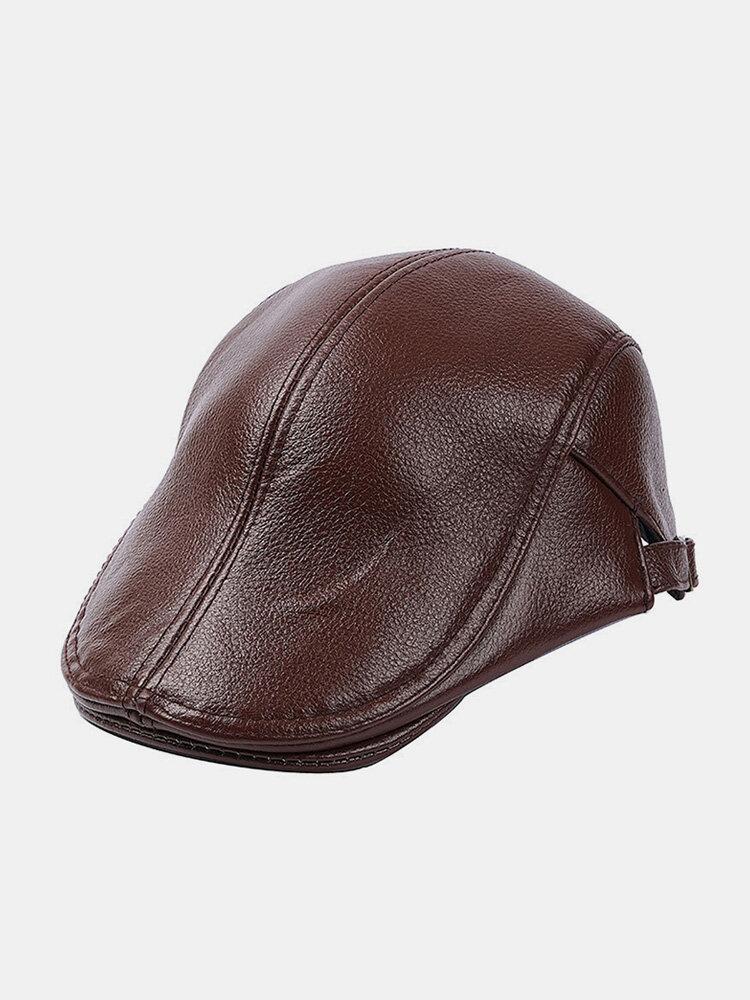 Men Genuine Leather Casual Retro Flat Cap Fashion Forward Hat Beret Hat
