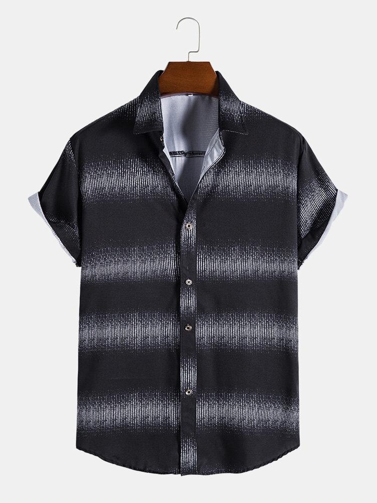 メンズDeisgnストライプ半袖ラペルBlackカーブドヘムシャツ