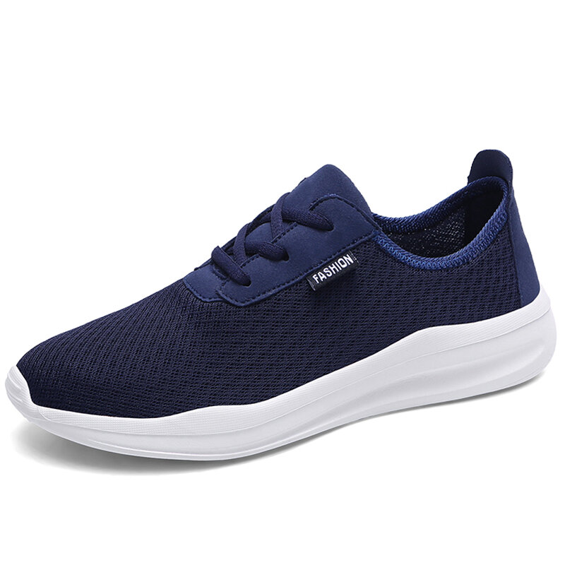 Men Pure Color Mesh Fabric Breathable Casual Sport Sneakers