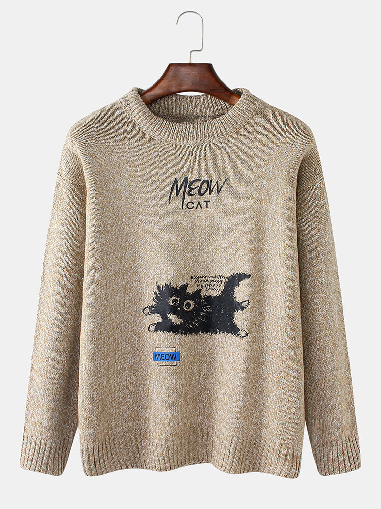 Mens Cartoon Cat Letter Print Round Neck Rib-Knit Drop Shoulder Sweaters, newchic  - buy with discount