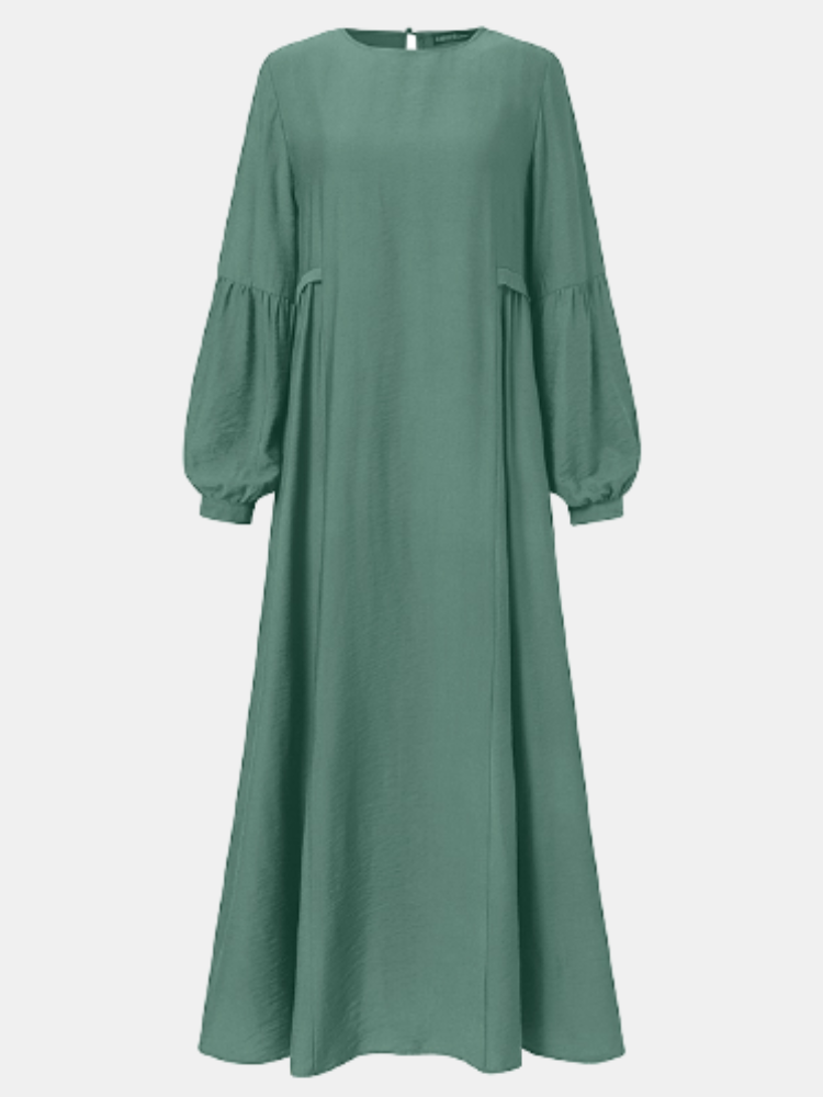 Solid Color Puff Sleeve Plus Size Casual Long Dress