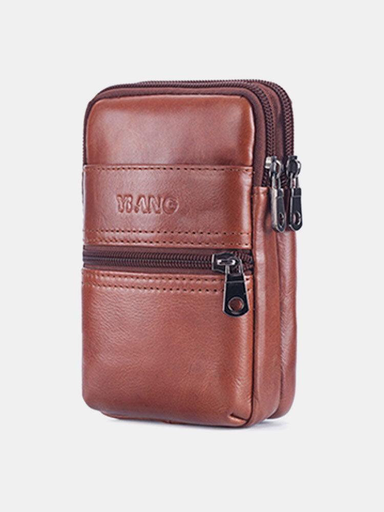 男性本革6.3インチベルトバッグ電話バッグ