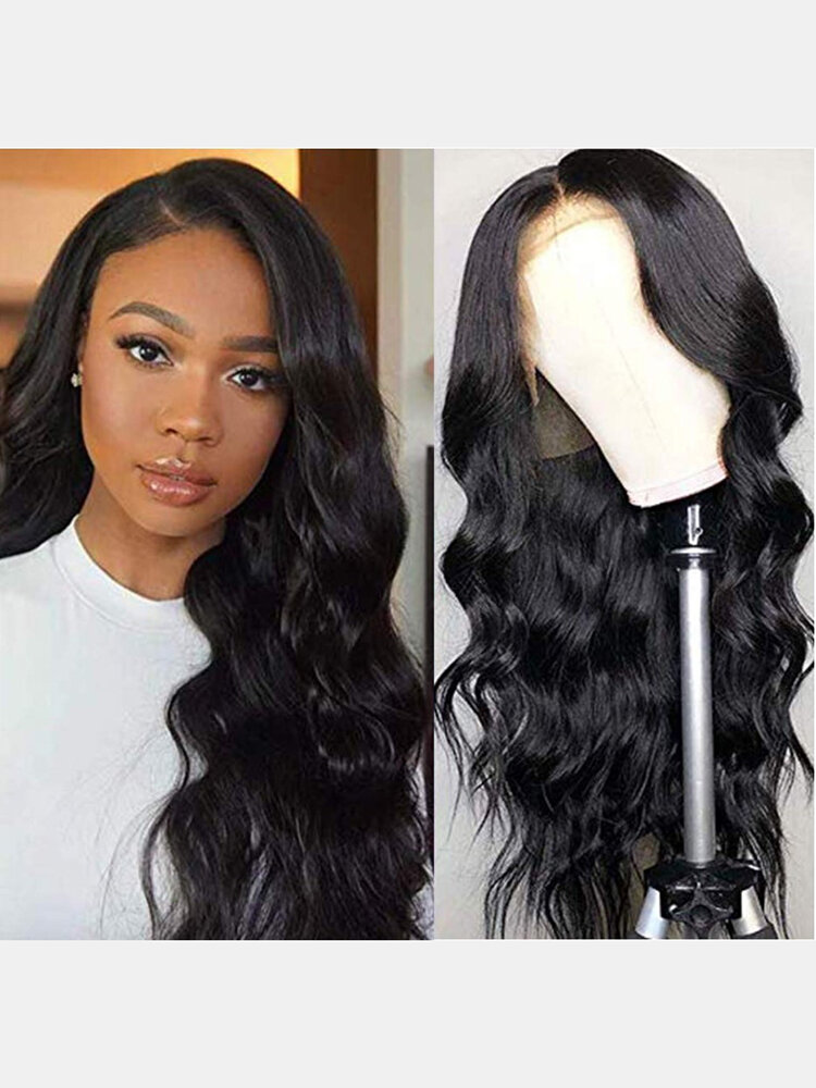 Black Front Lace Middle Part Long Curly Hair Chemical Fiber Head Cover Wig