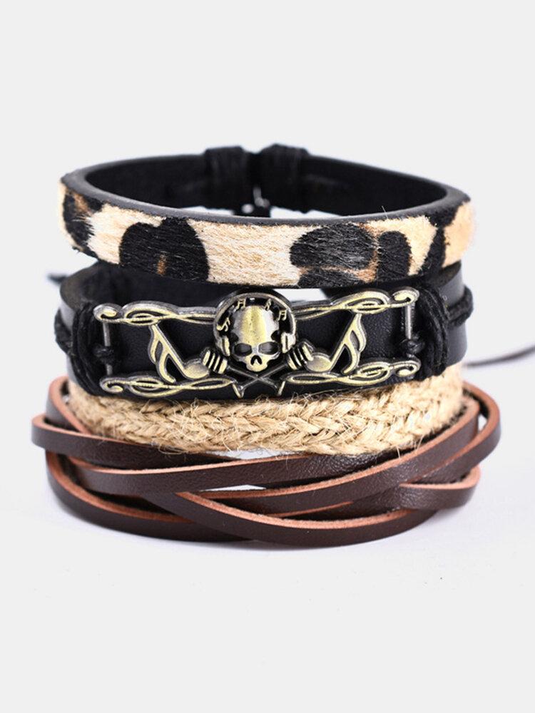 4 Pcs Ethnic Leopard Women Bracelet Set Vintage Music Skull Handmade Combination Leather Bracelet