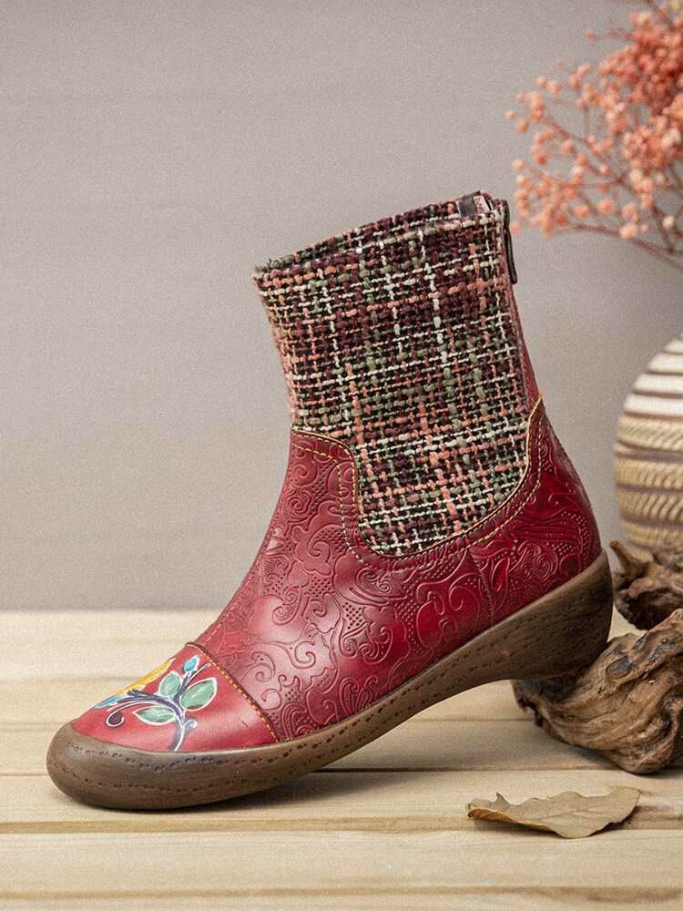 SOCOFY Check Woolen Splicing Floral Embossed Genuine Leather Flat Short Boots