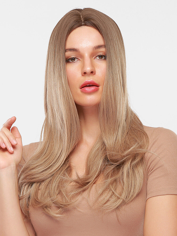 26 Inch Light Brown Long Straight Hair Fluffy Middle Part Long Bangs Full Head Cover Wigs