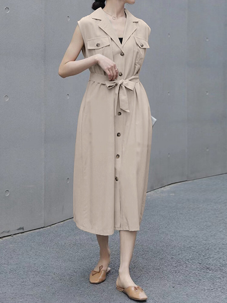 Solid Lapel Sleeveless Button Pocket Casual Shirt Dress with Belt