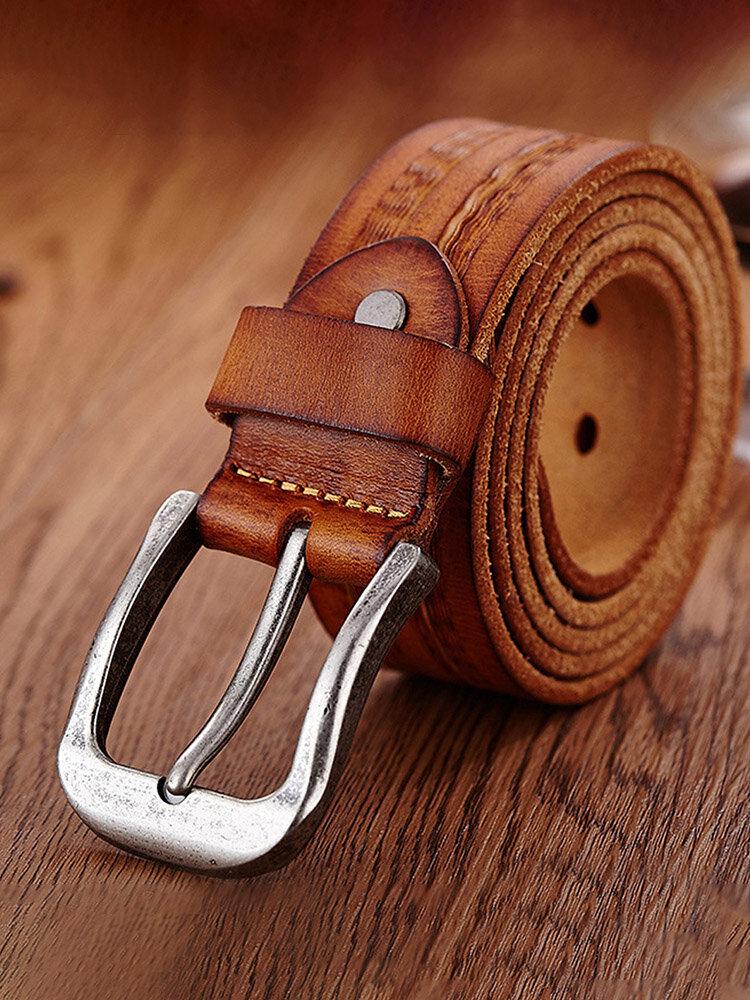 Cinturino in vita da uomo in vera pelle Cintura Cinturino in vita casual Smooth Pin Retro Cintura