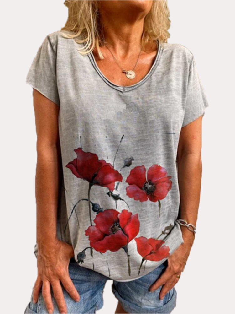 Flower Print Short Sleeve O-neck Plus Size T-shirt