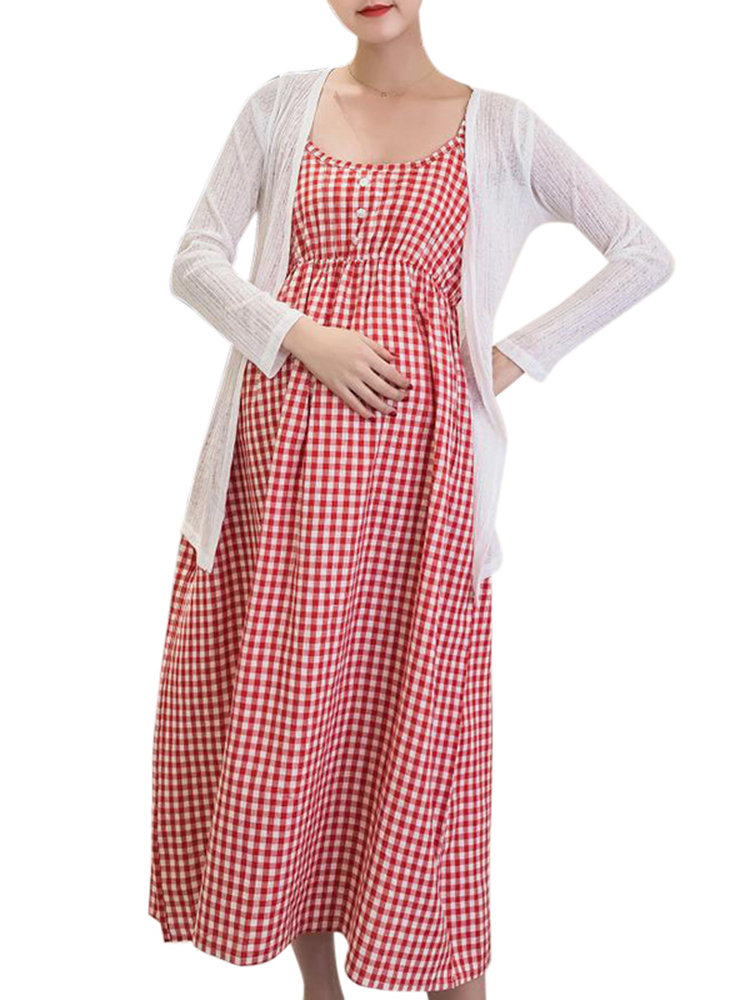 Maternity Dress Sets Sundress + Cardigan Clothes for Pregnant Women Pregnancy Clothing