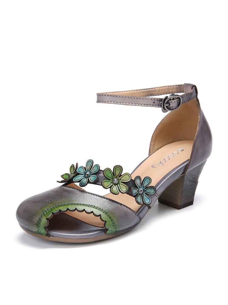 SOCOFY Leather Floral Cutout Buckle Ankle Strap Edged Peep Toe Block Heel D'orsay Pumps