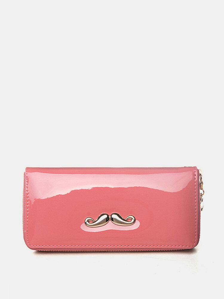 Women Moustache Leather Zipper Long Wallet