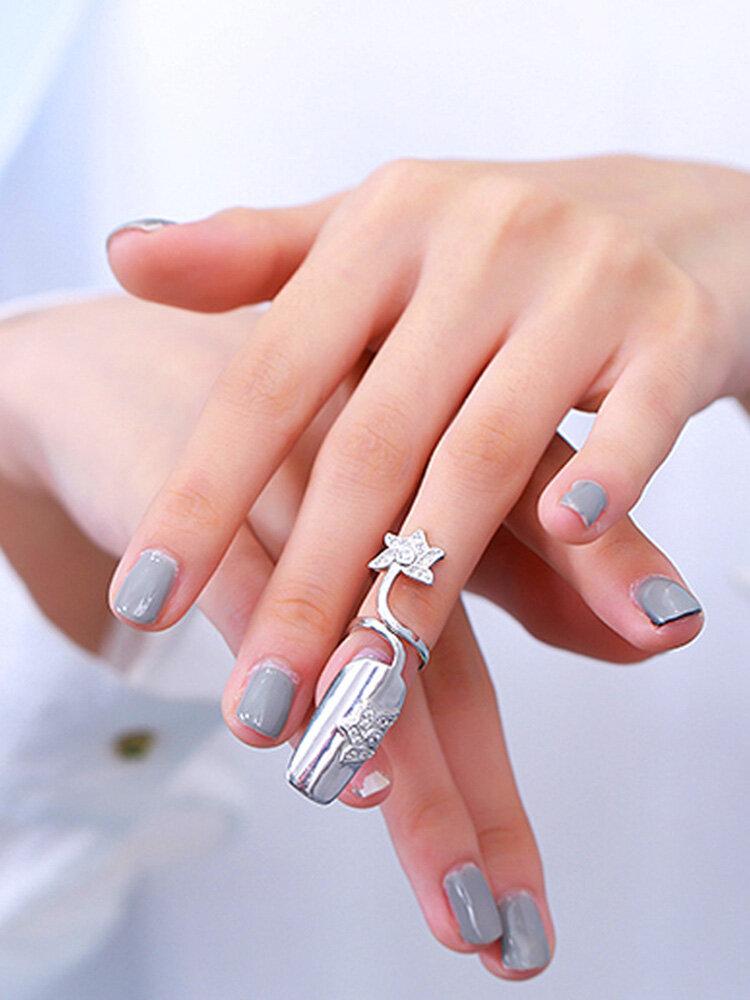 Stylish Open Silver Diamond Nail Ring