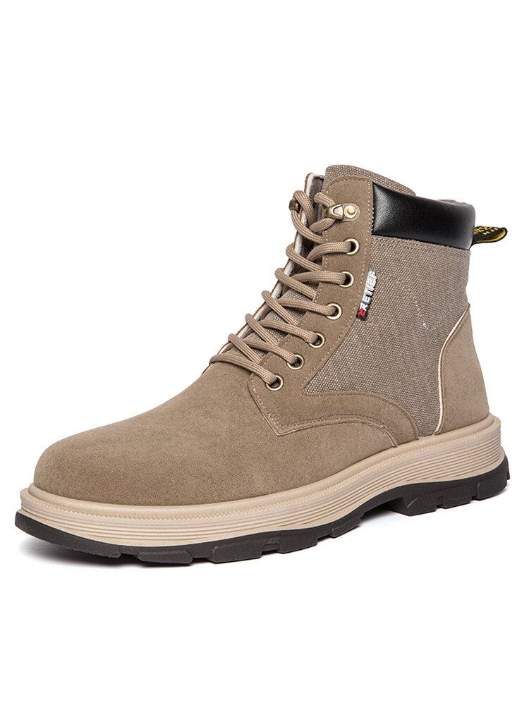 Men Outdoor Work Style Slip Resistant Canvas Splicing Ankle Boots