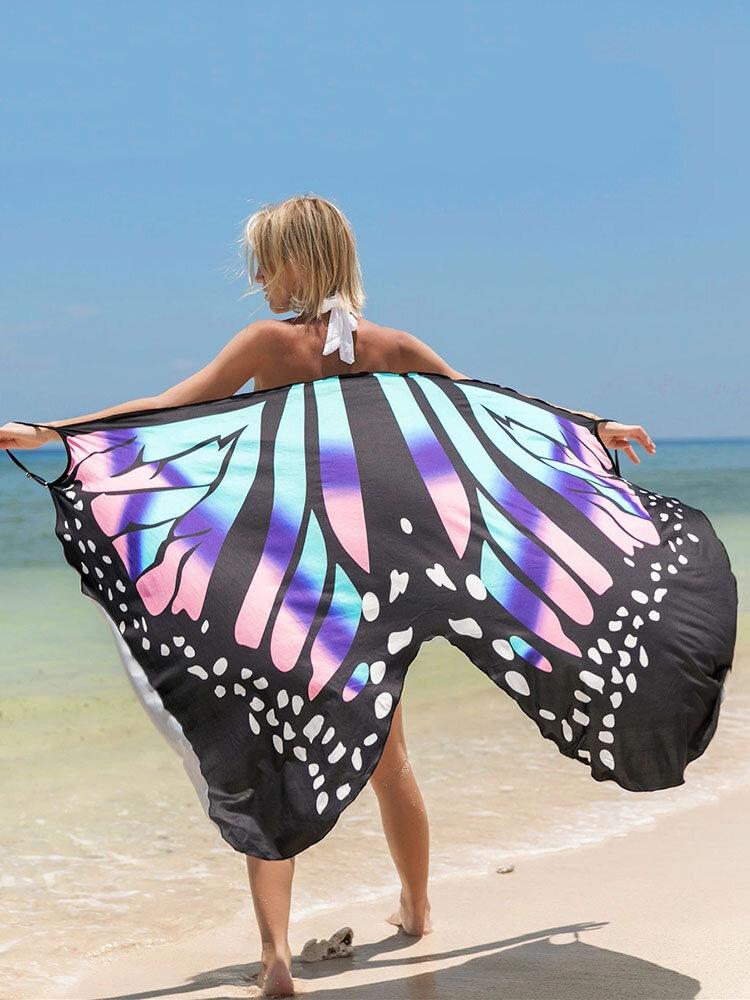 女性の蝶のパターンの日焼け止めショールビーチカバーアップ