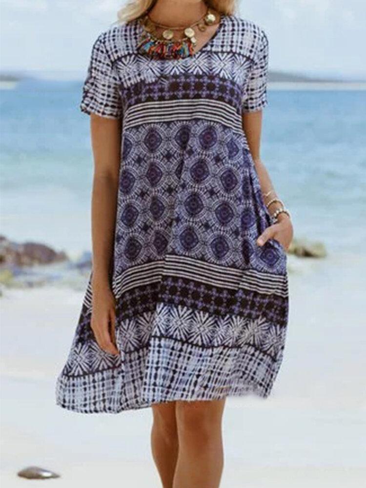 Short Sleeve Ethnic Print O-neck Mini Dress For Women