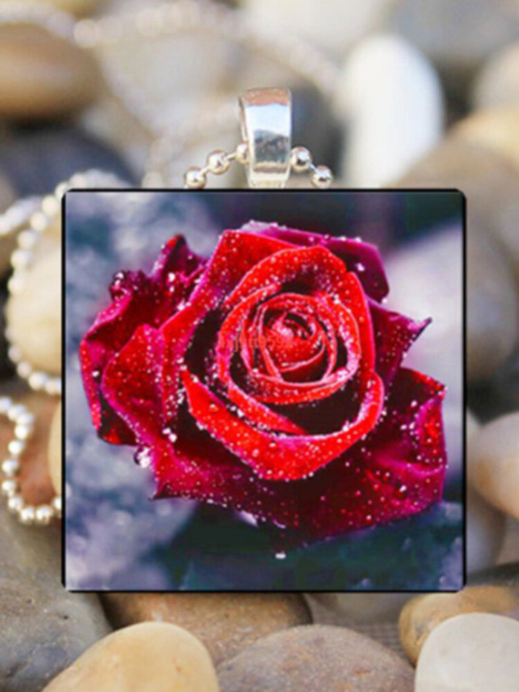 Vintage Square Glass Printed Women Necklaces Rose Flower Pendant Necklace Jewelry