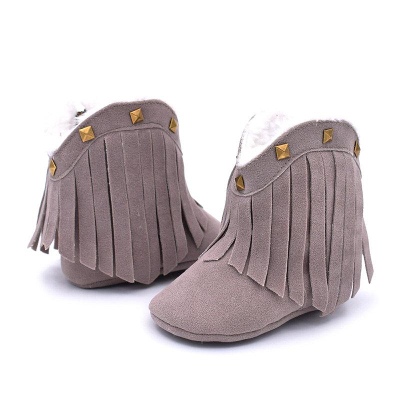 Vintage Tassel Baby Infant Girls Warm Winter Boots For 6-24 Months