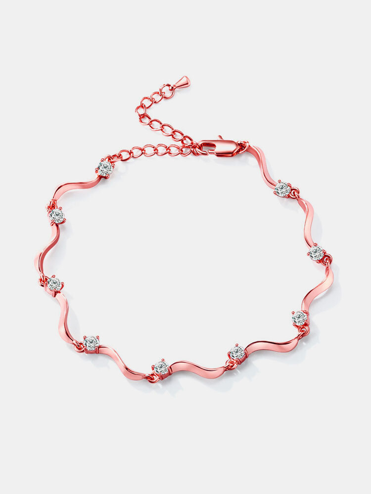 Fashion Anklets Gold Plated Colorful Zircon Wave S Form Anklet Elegant Accessories Jewelry for Women