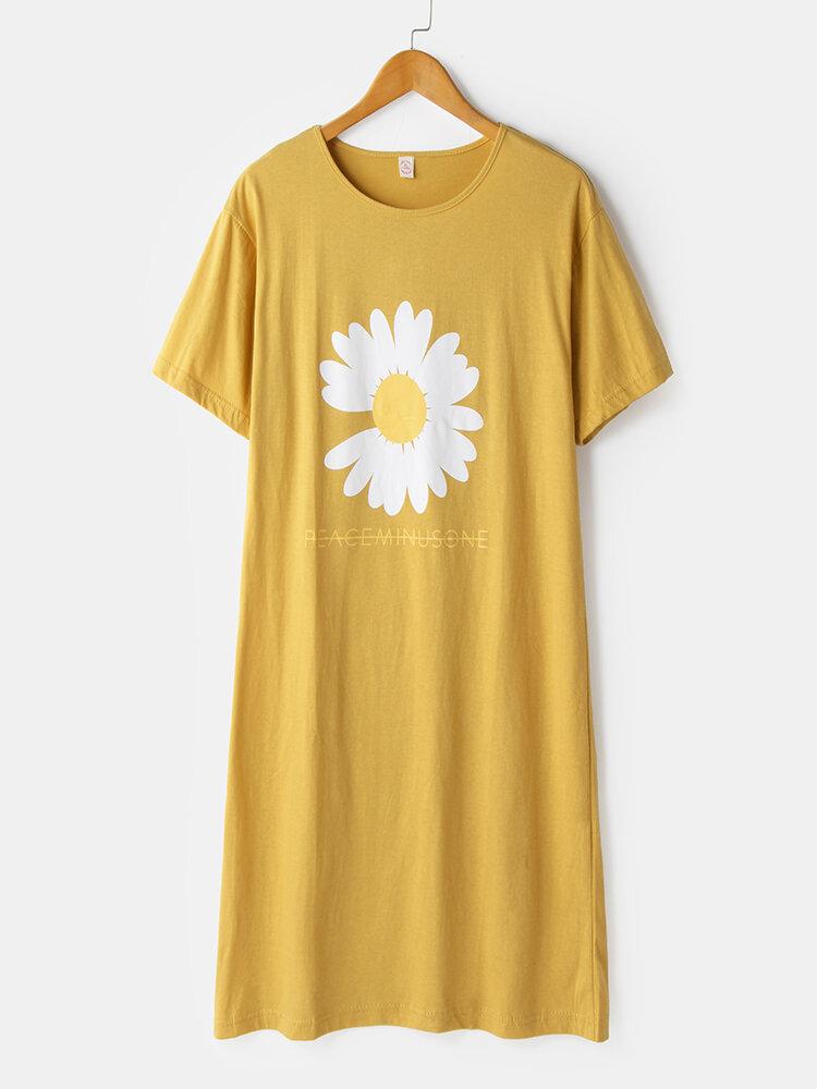 Plus Size Women Cotton Daisy Pattern Print Loose Breathable Nightdress