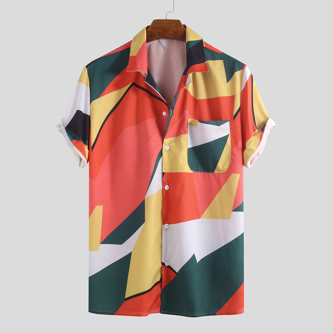 Mens_Hit_Color_Abstract_Printed_Chest_Pocket_Turn_Down_Collar_Short_Sleeve_Loose_Shirts