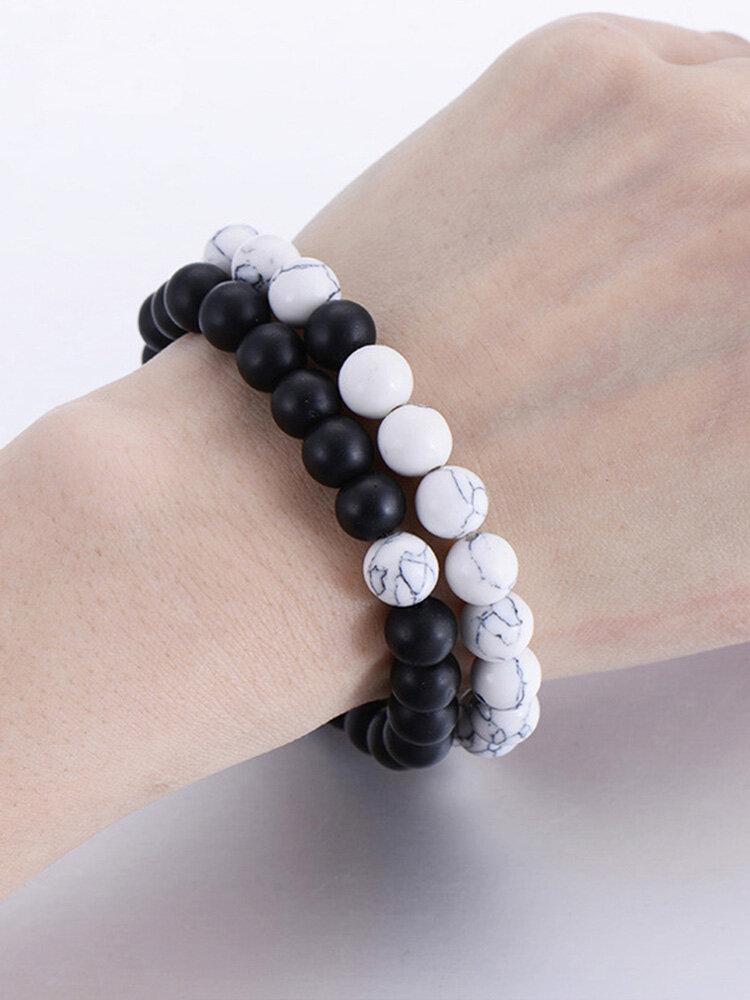 2 Pcs 8mm Turquoise Couple Bracelet Set Elastic Natural Texture Beaded Bracelet