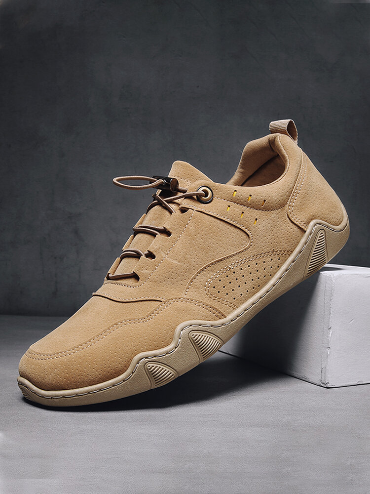Men Pure Color Lace-up Non Slip Hard Wearing Casual Driving Shoes