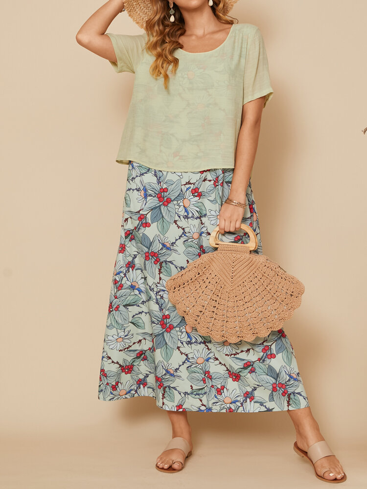 Floral Print Two Piece O-neck Short Sleeves Casual Dress
