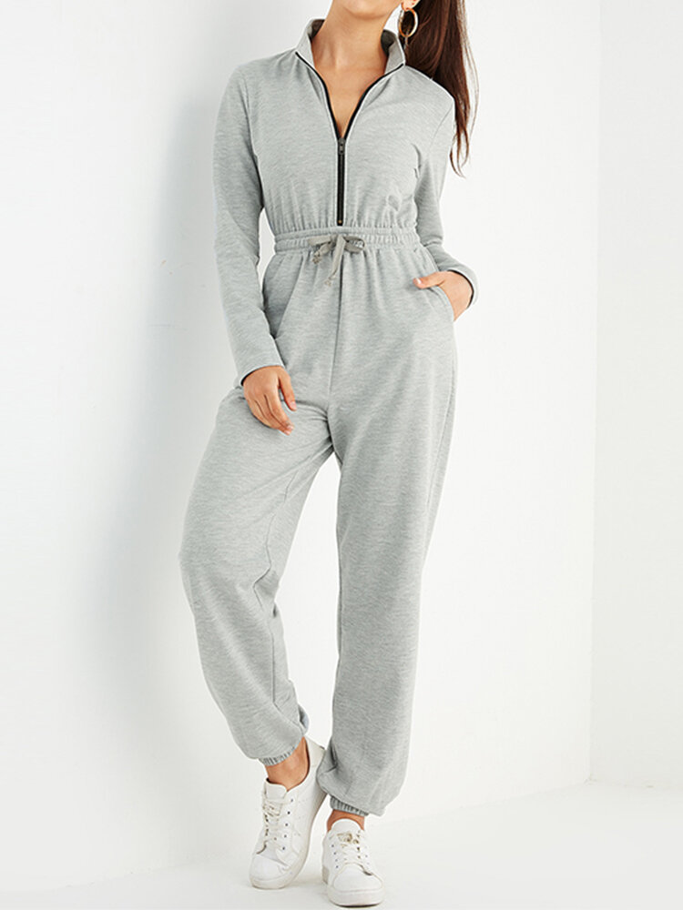 Solid Color Zipper Drawstring Pocket Long Sleeve Casual Jumpsuit for Women