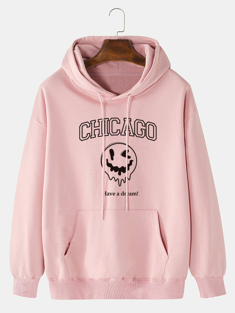 Mens Drip Face Letter Print Halloween Drawstring Hoodies With Pouch Pocket