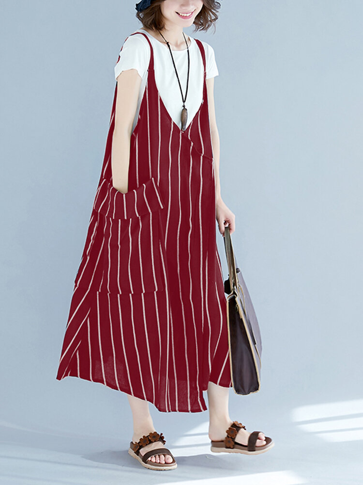 Striped Print Straps Casual Loose Plus Size Dress with Pockets