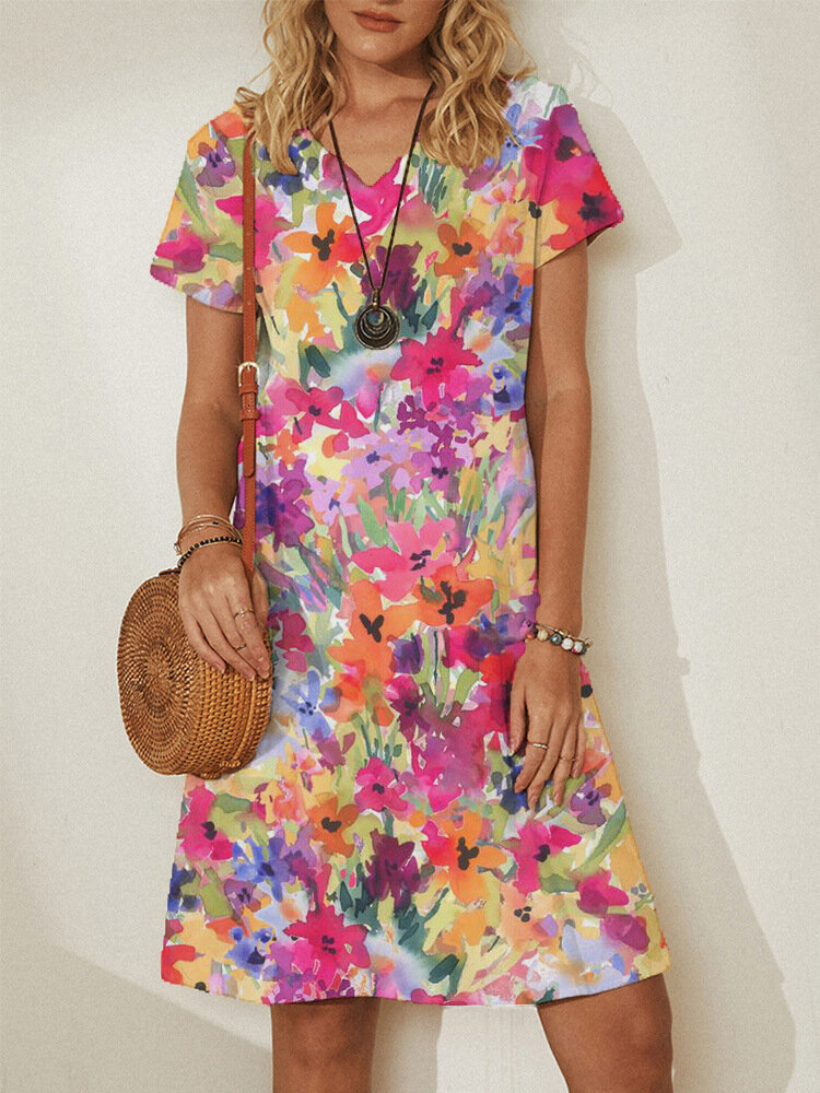 Floral Print Short Sleeve Plus Size Country Style Dress