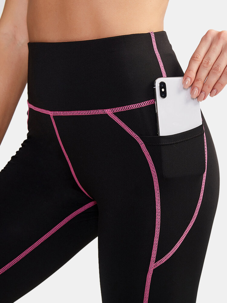 Women Quick Drying High Elastic Skinny Pocket High Waist Sports Cropped Pants With Contrast Binding