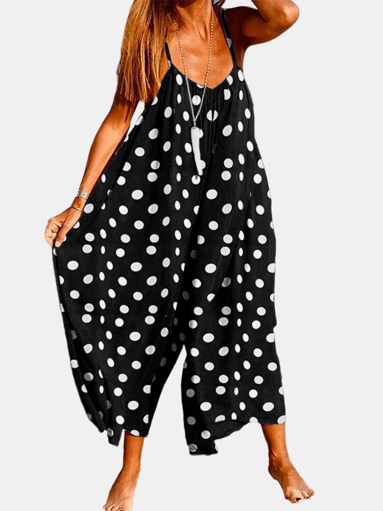 Bohemian Polka Dot Straps Casual Jumpsuit For Women
