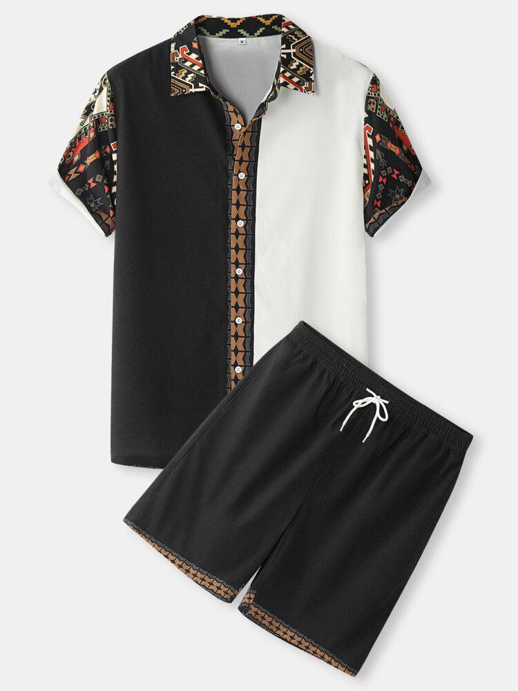メンズバロックプリントパッチワークボタンアップエスニックスタイルツーピース衣装