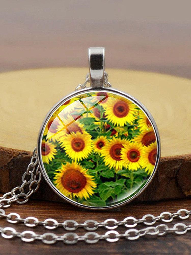 Vintage Landscape Printed Women Necklace Sunflower Pendant Clavicle Chain