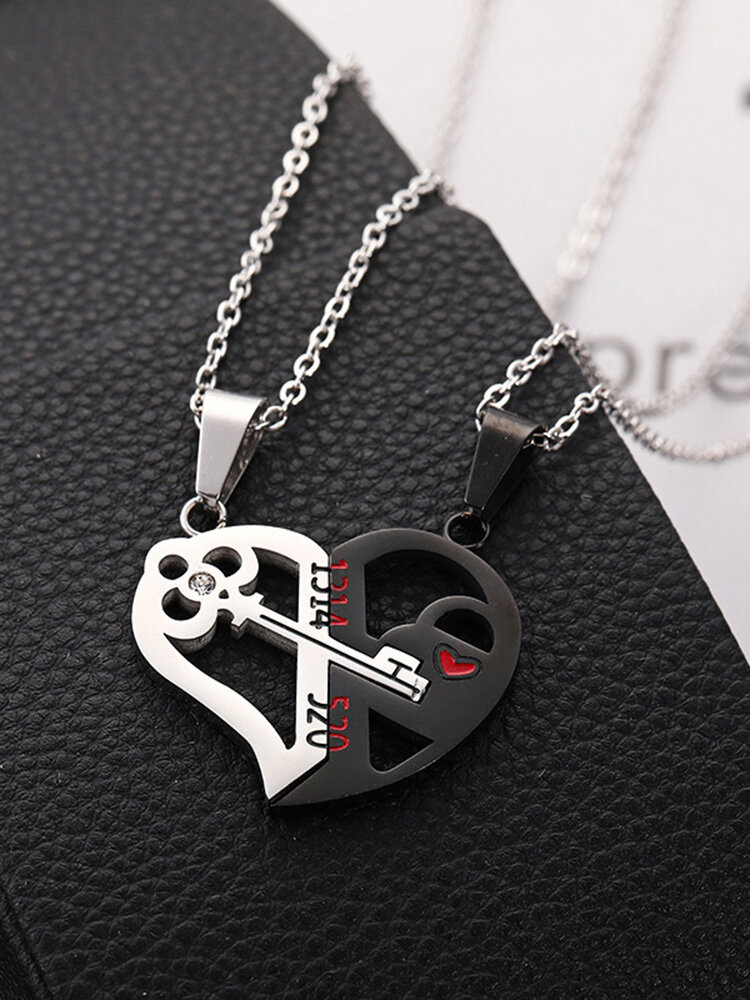 1 Pair Simple Key Splicing Couple Necklace Set Stainless Steel Heart Pendant Necklace Valentine's Day Gift
