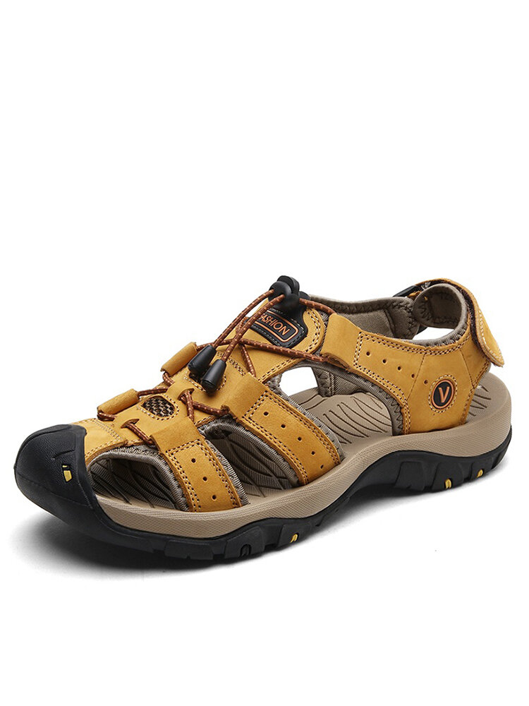 Large Size Men Anti-collision Toe Outdoor Slip Resistant Leather Hiking Sandals